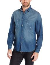 7 For All Mankind Mens Authentic Indigo Work Wear Button Down Denim Shirt M
