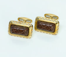 Stefano Ricci 18K Yellow Gold Diamond Crocodile Cufflinks