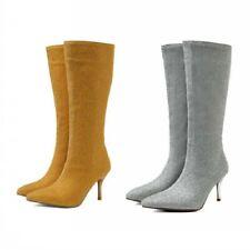 4 Colors Women Mid Calf Boots Wedding Bridal Stilettos Pointy Toe Shoes Party D