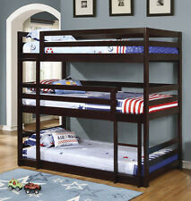"New ""Ryan"" Solid Pine Wood Cappuccino Finish Convertible Triple Bunk Bed Day Bed"