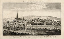PERSPECTIVE VIEW OF THE CITY OF SALISBURY, IN WILTSHIRE 1771  ANTIQUE ENGRAVING
