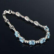 Crystle Party Jewelry Girl Cubic Bracelet Chain Zircon Aquamarine