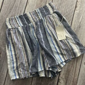 A New Day Womens Size XS High Waisted Striped Stretch Casual Linen Shorts NWT
