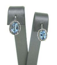 14k White Gold Oval Cut Aquamarine and Diamond Dangle Earrings -