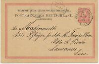 """DT.REICH """"FRANKFURT A/MAIN / 1."""" K1 10 Pf Adler Kab.-GA-Auslands-Postkarte ABART"""