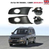 FOR VW TOURAN / CADDY 2010 -2014 FOG LIGHTS LAMP & GRILLS GRILLE KIT UK