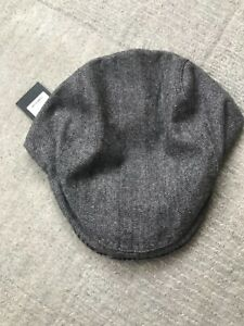 Ted Baker charcoal fabric mix flat cap bnwt large