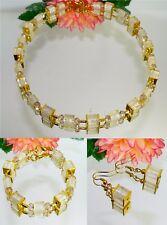 3er Schmuckset Kette Armband Ohrring champagner diamantiert gold  404u