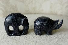 Small Black Rhino & Elephant Figurines Minimalist Modern Home Decor, 2 piece set