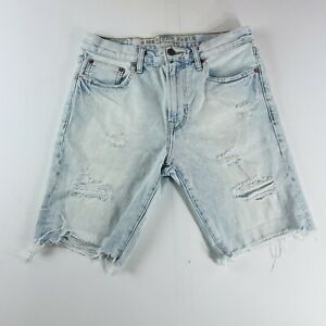 American Eagle Jean Shorts Distressed Light Wash Blue Mens Size 30