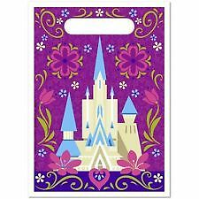 Disney Frozen Anna Elsa Plastic Party Favour Bag Lolly Loot Bag (Pack of 8)