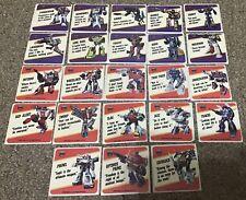 1985 Transformers Motto Sticker Action Trading set lot Megatron Optimus Prime