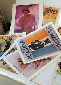 6 diff WWII U. S. MARINE CORPS RECRUITING POSTERS - Reproduced in 1974