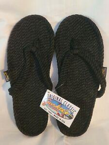 NEW Gurkees Rope Thong Flip Flops Sandals Tobago Hemp Black Mens 13 MADE IN USA!