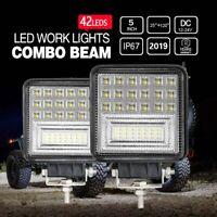 2X 48W Square Pods LED Work Light SPOT SUV ATV Truck Off Road Tractor 12V 24V US