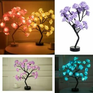 LED Tree Table Lamp Rose Flower USB Night Light Home Decor Christmas Ornament