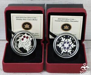 LOT OF 2: 2010 CANADA $20 HOLIDAY PINECONE RUBY & TANZANITE SNOWFLAKE 1oz COINS