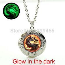 Mortal Kombat necklace Dragon men Glass glowing photo locket pendant necklace