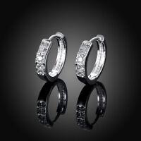 Silver Plated Women Fashion Hoop Studs Dangle Earrings Jewelry