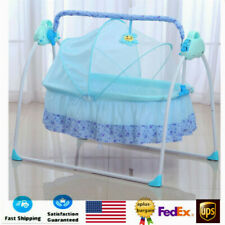 Electric Baby Crib Cradle Automatic Rocking Chair Usb Music Bed Remote Control