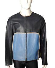 NEIL BARRETT-Navy & Blue Leather Racing Jacket, Size-Large