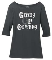 Ladies Giddy Up Cowboy Scoop 3/4-Slv Tee Country Redneck Southern Cowgirl