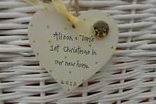 PERSONALISED First 1ST  CHRISTMAS TREE DECORATION in  new home  8cm  gold