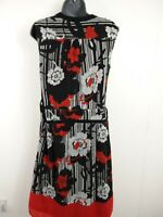 WOMENS MONSOON RED WHITE & BLACK FLORAL A-LINE DRESS UK 10