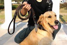Leather Braided Walking Training Lead Leash Belt Rope for Medium Large Dog Pet