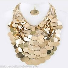 Massive Coins Exquisite Gold Multi Layered Chunky Elegant Statement Necklace Set