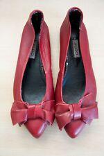 Aldo Red Women Leather Flat Slip On Bow Toe Summer Shoe Size 38