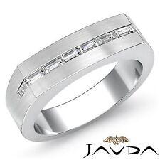 6mm Mens Half Wedding Band Baguette Channel Set Diamond Platinum 950 Ring 0.50Ct