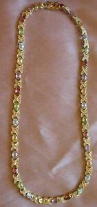 Collier vermeil ( argent massif doré or fin ) 33 pierres couleur semi précieuses