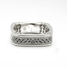 Unique Artr Deco Vintage Style With Solid 925 Sterling Silver Men's Square Band