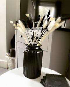 Black Ribbed Vase, Matt Black Glass Vase, Vintage Sweetie Style