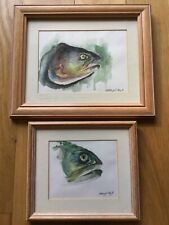 2 FRAMED SEA TROUT WATERCOLOUR PAINTINGS, 1991.