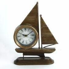 Sailing Boat Mantel Desk Clock in Metal Case With Stand W2630