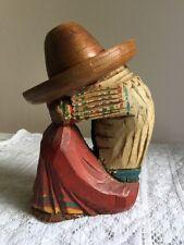 Mexican Siesta Man Vintage Wood Carving