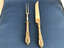 Wallace Sterling Silver Rose Point Carving Set:  Large Knife and Fork