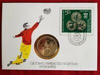 Numisbrief Bulgarien Fußball WM 1982 Spanien 5 Lewa Münze unc. 1980 PP Sammler