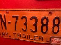 New York Trailer 1981 License Plate N 73388