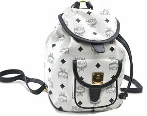 Authentic MCM Visetos Leather Vintage Backpack White Navy E0628