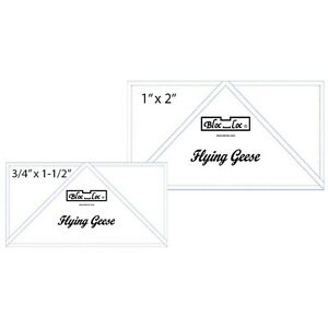 "Bloc Loc 0.75"" x 1.5"" & 1"" x 2"" Flying Geese Square Up Rulers Set #4"