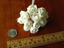 """Vintage Millinery Flower Rose Bud 12p Bunch 7/8""""ea Ivory for Hat + Hair Crown UC"""
