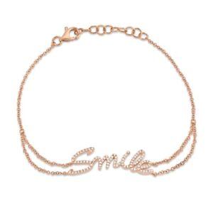 SMILE Inscribed Diamond Bracelet 14K Rose Gold Womens Natural Round Cut 0.18 CT
