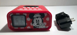 MICKEY MOUSE Disney iHome Dual Alarm Clock Speaker for i-pod Used RARE C3