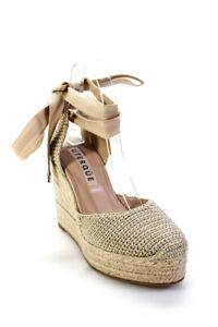 Uterque Womens Platform Wedge Heel Ankle Strap Crochet Espadrilles Beige Size 36