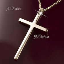 9K GF 9CT ROSE GOLD FILLED NEW CLASSIC SIMPLE CROSS PENDANT NECKLACE