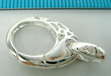 1x STERLING SILVER OVAL FLOWER LOBSTER CLASP BEAD 24mm #1712
