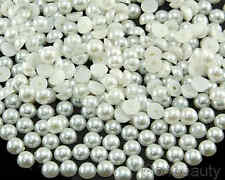 Selection of 7mm Half Pearl Beads Flat Back - 15 Colors to choose from